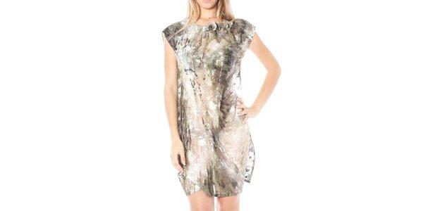 Dámské šedohnědé volné vzorované šaty Nancy N.