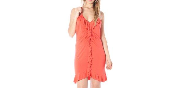 Dámské korálové šaty s volánky Nancy N.