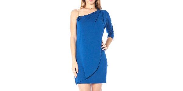 Dámské modré šaty s odhaleným ramenem Nancy N.
