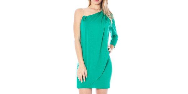 Dámské zelené šaty s odhaleným ramenem Nancy N.