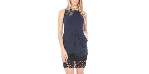 Dámské modré šaty s krajkovým lemem Nancy N.