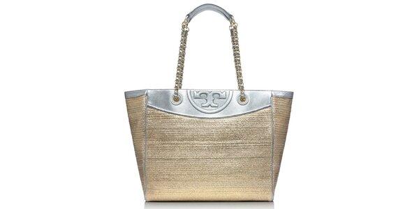 Dámská stříbrno-slaměná kožená taška Tory Burch