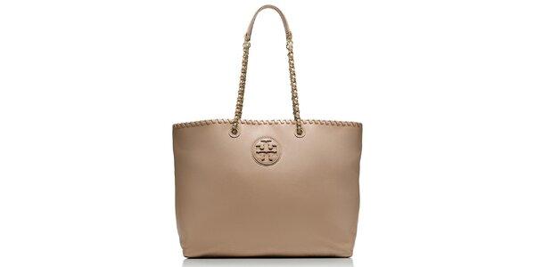 Dámská béžová kožená kabelka s řetízkovými poutky Tory Burch