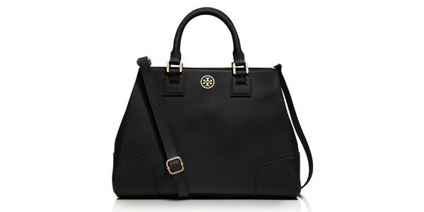 Dámská černá kožená kabelka s plíškem Tory Burch