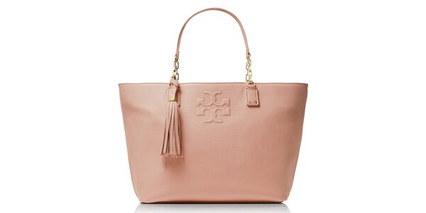 Dámská světle růžová kožená kabelka se střapcem Tory Burch