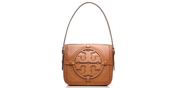 Dámská hnědá kožená kabelka s ornamentem Tory Burch