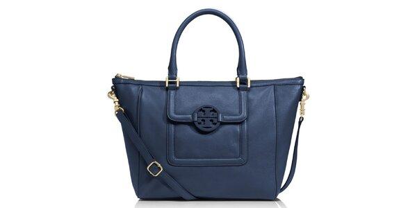 Dámská temně modrá kožená kabelka přes rameno Tory Burch
