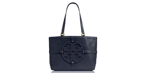 Dámská tmavě modrá kožená kabelka s ornamentem Tory Burch