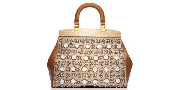 Dámská světlá kožená doktorská taška s aplikacemi Tory Burch