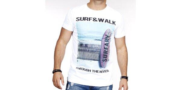 Pánské bílé tričko se surfem Pontto