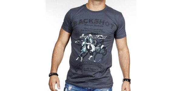 Pánské šedé tričko s pólem Pontto