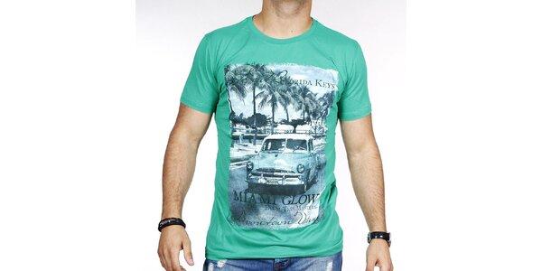 Pánské zelené tričko s barevným potiskem Pontto