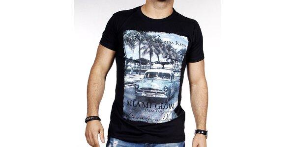 Pánské černé tričko s barevným potiskem Pontto