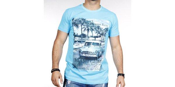 Pánské světle modré tričko s barevným potiskem Pontto