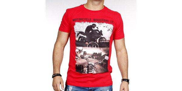 Pánské červené tričko s potiskem motorky Pontto