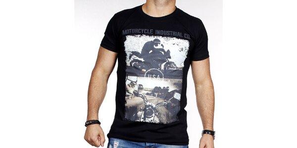 Pánské černé tričko s potiskem motorky Pontto