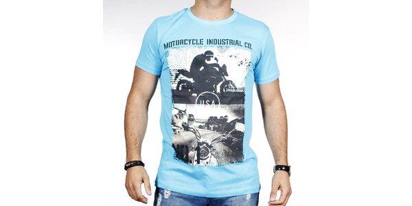 Pánské světle modré tričko s potiskem motorky Pontto