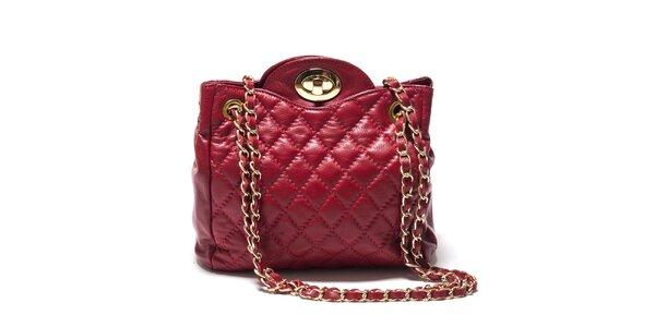 Dámská červená zaoblená kabelka z kůže Isabella Rhea