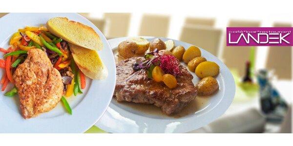 Kuřecí a vepřové maso pro dva v Restauraci Landek
