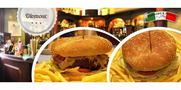 40% sleva na Maxi burger se slaninou a hranolky