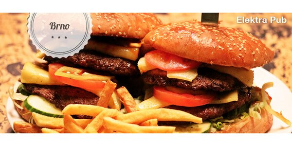 50% sleva na obří burgery a hranolky v Elektře