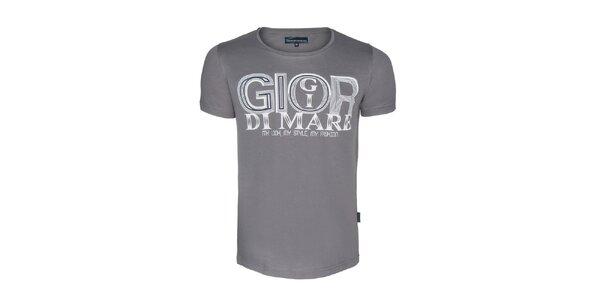 Pánské šedé tričko s nápisem Giorgio di Mare