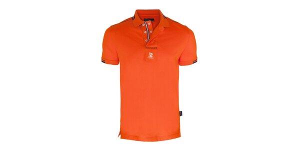 Pánské oranžové polo triko s dvouřadým límečkem Giorgio di Mare