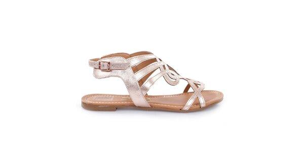 Dámské růžově zlaté sandálky Vizzano