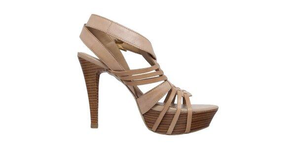 Dámské béžové boty na podpatku s platformou Via Uno