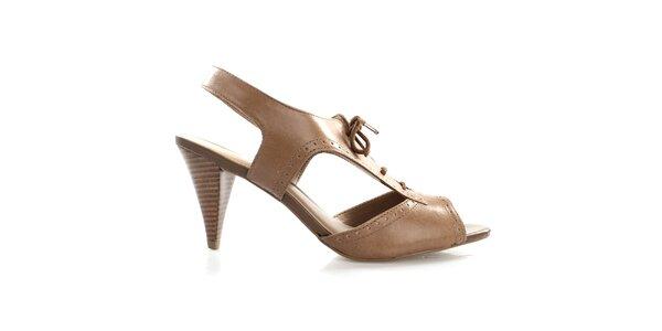 Dámské kožené šněrovací boty v hnědé barvě Via Uno