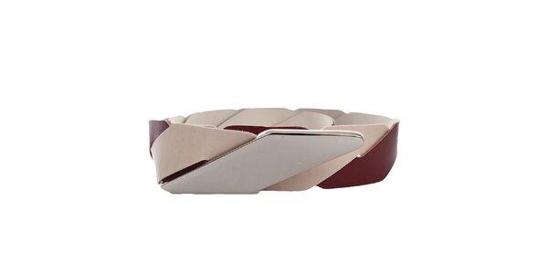 Dámský vínovo-béžový kožený pásek s kovovým zapínáním Via Uno