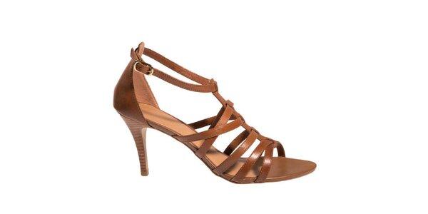 Dámské hnědé sandálky na podpatku Via Uno