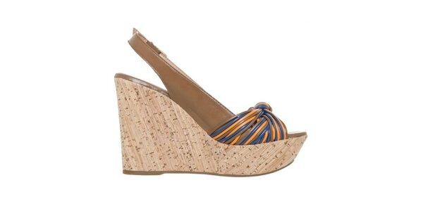 Dámské hnědé sandálky na klínu s barevnými detaily Via Uno