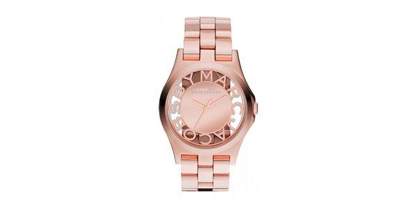 Dámské pozlacené hodinky s průhledným ciferníkem Marc Jacobs