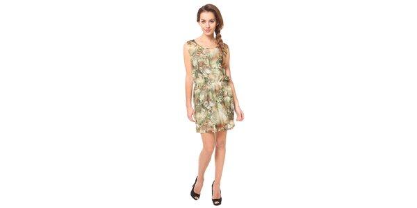Dámské olivové vzorované šaty Moda Prym