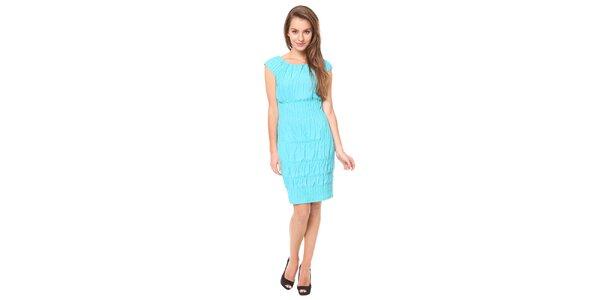 Dámské tyrkysové šaty se žabičkováním Moda Prym