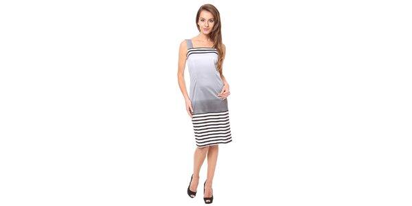 Dámské stříbrné šaty s proužky Moda Prym