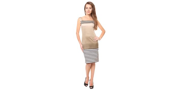 Dámské zlaté šaty s proužky Moda Prym