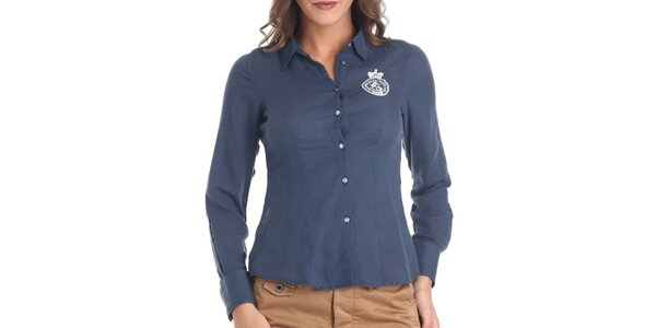 Dámská tmavě modrá košile s dlouhým rukávem Galvanni