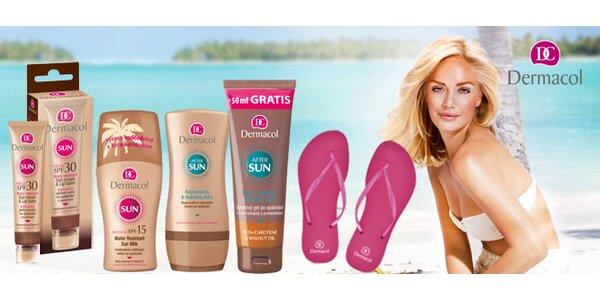 Balíček letní kosmetiky Dermacol a plážové žabky