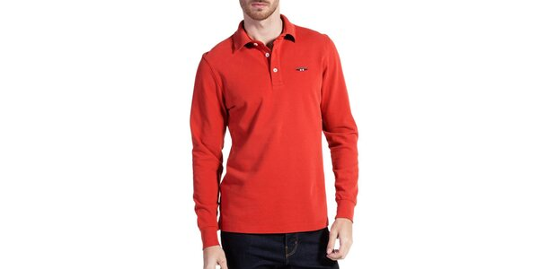 Pánské cihlově červené polo triko s dlouhým rukávem Galvanni