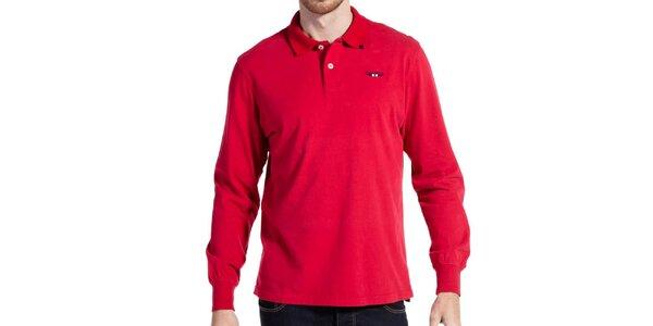 Pánské červené polo triko s dlouhým rukávem Galvanni