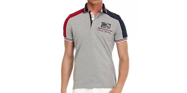 Pánské šedé polo tričko s barevnými proužky Galvanni
