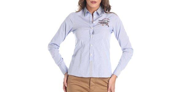 Dámská světle modrá košile s výšivkou Galvanni