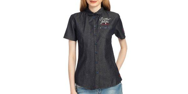 Dámská antracitová košile s krátkým rukávem Galvanni