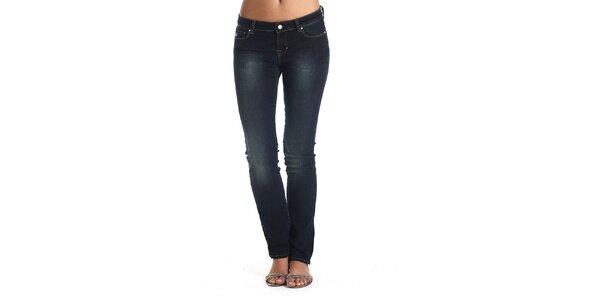Dámské tmavě modré džíny s šisováním Galvanni