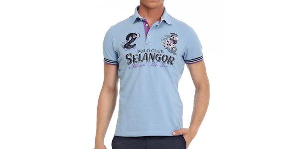 Pánské světle modré polo tričko s ozdobnými prvky Galvanni