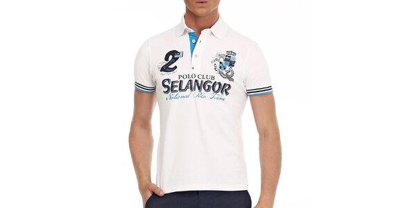 Pánské bílé polo tričko s ozdobnými prvky Galvanni