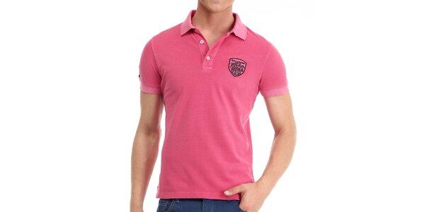 Pánské růžové polo triko Galvanni