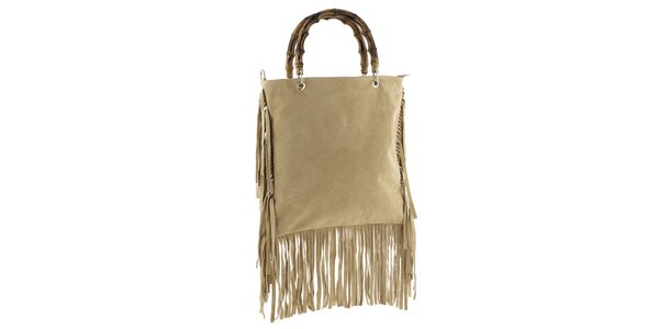 Dámská béžová kabelka s třásněmi Tina Panicucci